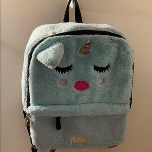 Betsey Johnson blue fuzzy unicorn backpack!